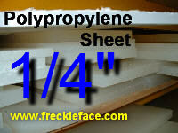 1/4 X 36 X 48 Polypropylene SheetNote: This can be relatively expensive to ship because it is considered oversize.  Consider multiple smaller pieces if you don't need it all in one piece.t